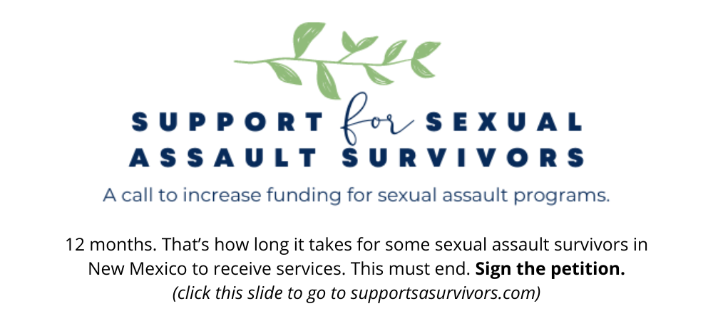 leaf graphic with text Support for Sexual Assault Survivors - A call to increase funding for sexual assault programs